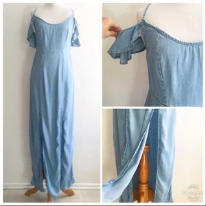 Guess Maxi Dress Blue Off the Shoulder Slit Small